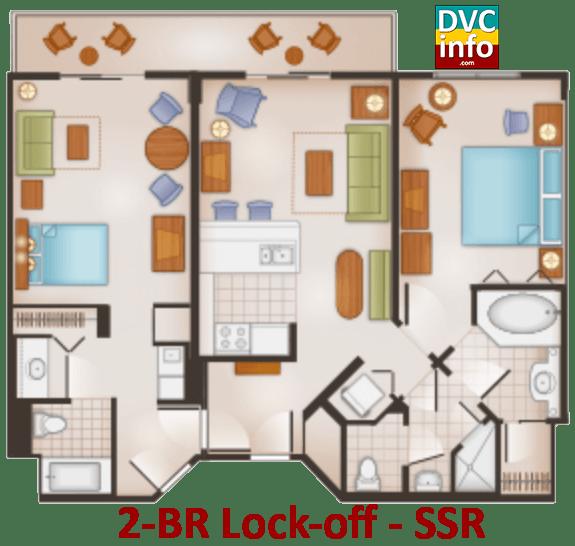 2-BR lock-off floor plan - Saratoga Springs Resort