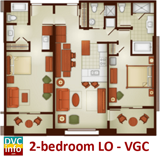 2-bedroom lock-off floor plan - Villas at the Grand Californian