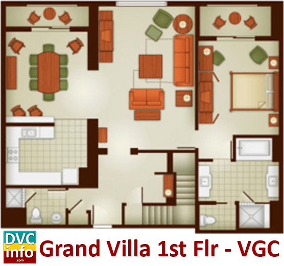 Grand Villa 1st floor plan - Villas at the Grand Californian