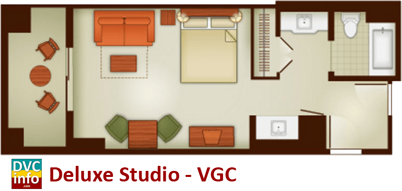 Studio floor plan - Villas at the Grand Californian