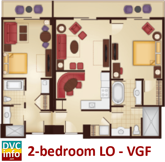 2-bedroom lock-off floor plan - Villas at the Grand Floridian