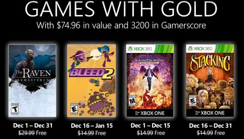 Xbox Games With Gold December 2020