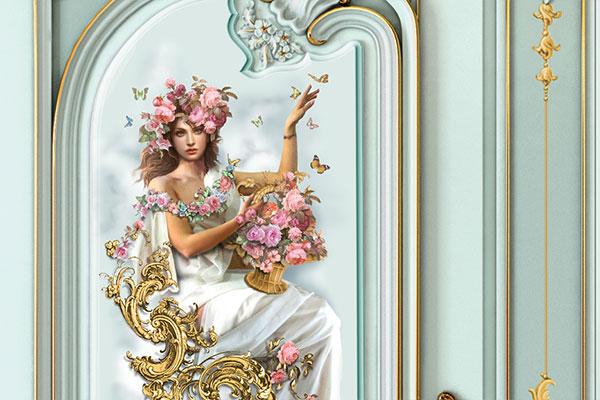 Двери с художественной росписью, с рисунком