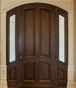 отделка металлической двери массивом дерева