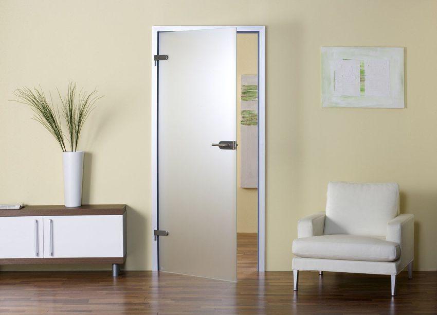 распашная цельностеклянная дверь