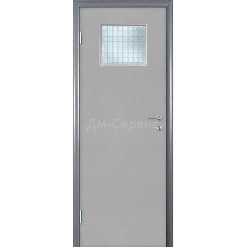 Строительная дверь облицованная пластиком CPL (со стеклом)