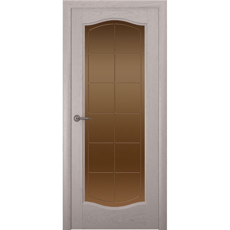 Дверь с натуральным шпоном «Аврора Решетка бронза» (со стеклом)