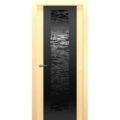 Межкомнатная шпонированная дверь «EGO P Черное» (со стеклом)