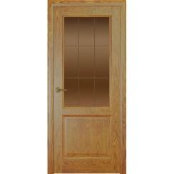 Дверь с натуральным шпоном «Парма Решетка бронза» (со стеклом)
