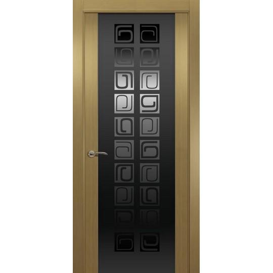 Межкомнатная шпонированная дверь «Concept P Черный» (со стеклом)