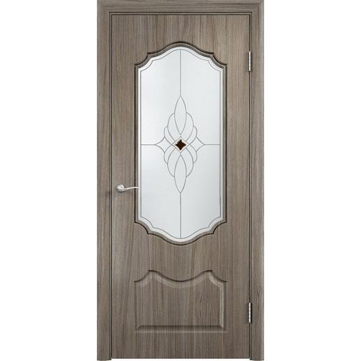 Межкомнатная дверь скин экошпон «Венера ДО Ромб светлый» (со стеклом)