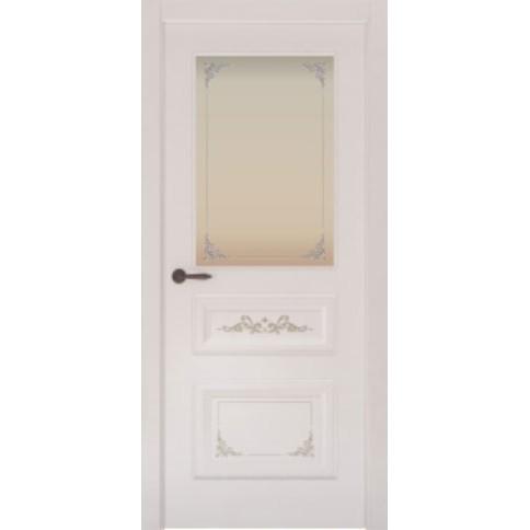 Межкомнатная дверь с эмалью «Flora 3 Белая» (со стеклом)