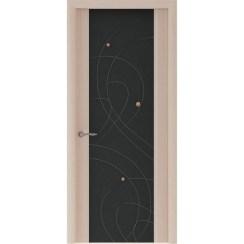 Межкомнатная шпонированная дверь «Murano-2 Черное» (со стеклом)