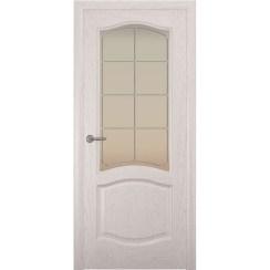 Дверь с натуральным шпоном «София Решетка белая» (со стеклом)