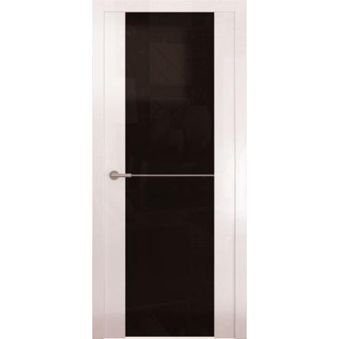 Межкомнатная глянцевая дверь «Avorio-1 Черное» (со стеклом)