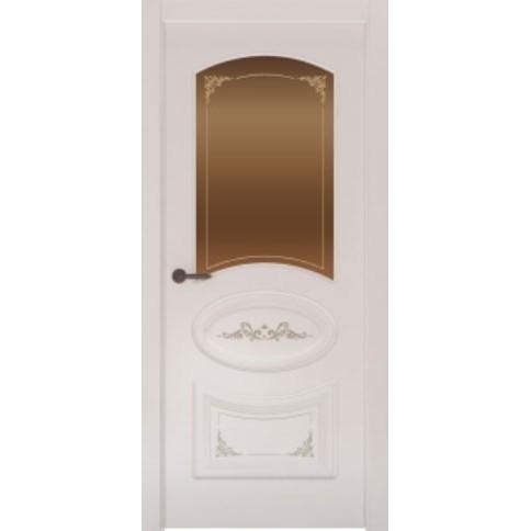 Межкомнатная дверь с эмалью «Flora 1 Бронза» (со стеклом)