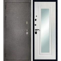 Входная металлическая дверь МД-26 (серебро) с зеркалом