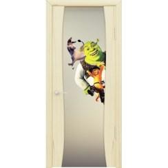 Межкомнатная шпонированная дверь «Буревестник-2 Шрек» (со стеклом)