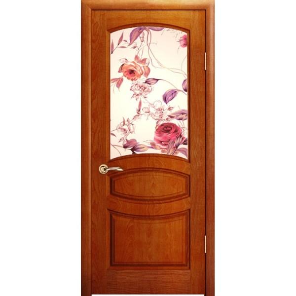 Межкомнатная шпонированная дверь «Изабелла Ажур» (со стеклом)