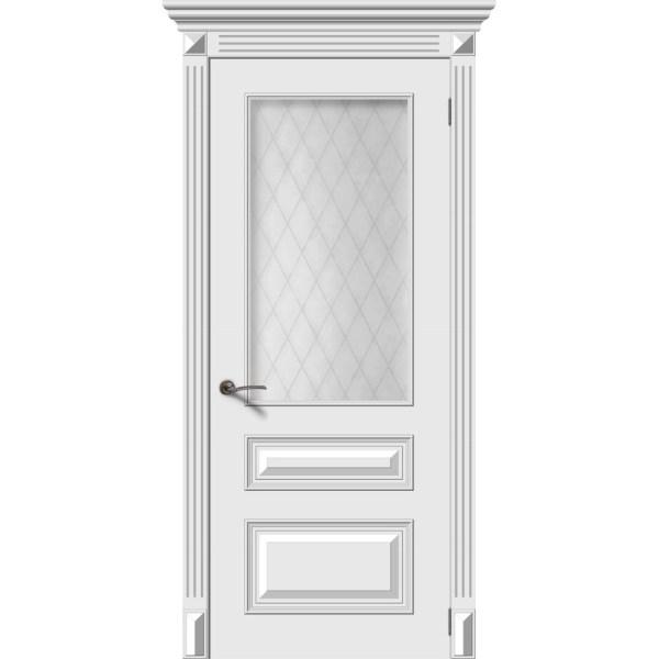 Межкомнатная дверь эмаль «Багет 3» (со стеклом)