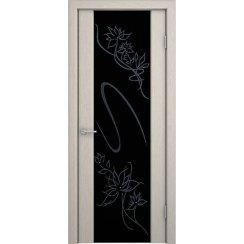 Шпонированная дверь со стеклом триплекс «Кристалл»