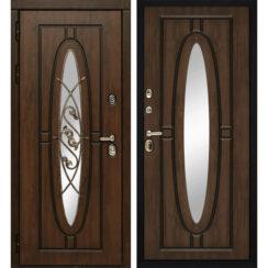 Уличная металлическая дверь «Монарх» (темный дуб)