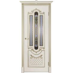 Межкомнатная дверь эмаль классика патина «Муар» (со стеклом)