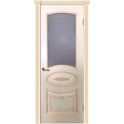 Межкомнатная дверь эмаль классика патина «Вуаль» (со стеклом)