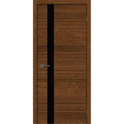 Межкомнатная дверь «Сити 1» натуральный шпон (стекло чёрное)