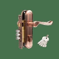 Дверной комплект TIXX (ручка с изгибом, замок с 3 ригелями и защелкой)