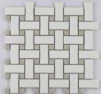 COSMOPOLITAN Porcelain Mosaic Basketweave Pattern White ...