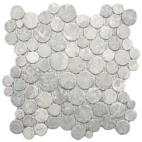CNK Tile Pebble Tiles Light Grey Moon Mosaic Tile