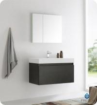 "Fresca Mezzo 36"" Wall Hung Modern Bathroom Vanity with ..."