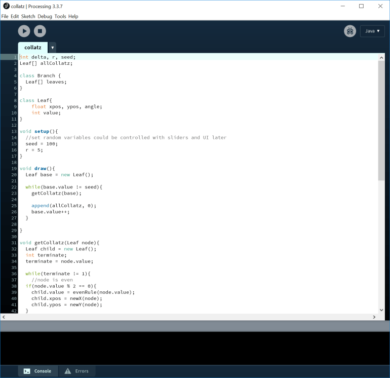 The start of a program that will draw branches of the Collatz conjecture as it approaches 1. Written in Processing's IDE