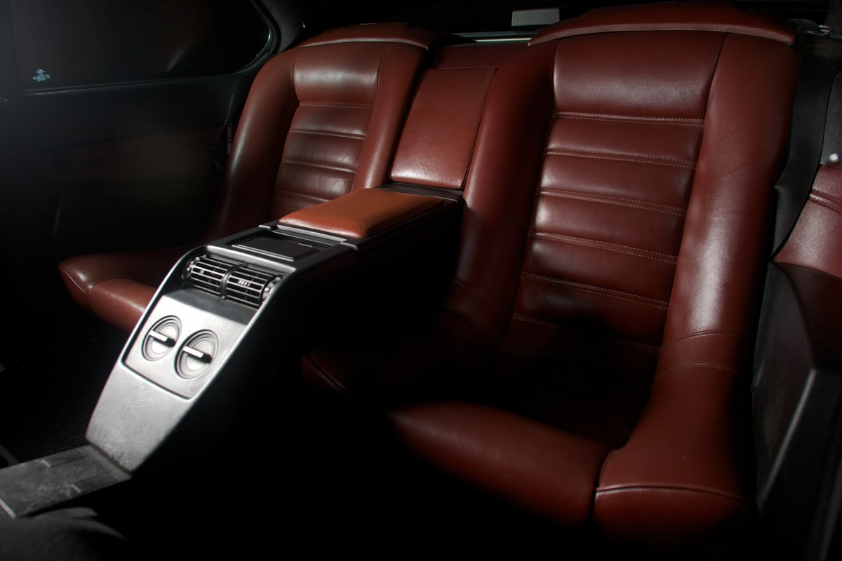 Beauty shot of the rear seat of a 1987 BMW 635CSi