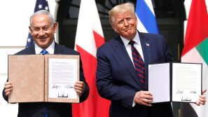 U.S. President Donald Trump and Benjamin Netanyahu, Israel's prime minister, left, hold signed documents during an Abraham Accords signing ceremony event on the South Lawn of the White House in Washington, D.C., U.S., on Tuesday, Sept. 15, 2020. The United Arab Emirates and Bahrain signed landmark agreements on Tuesday to move toward establishing normal relations with Israel, setting in motion a potentially historic shift in Mideast politics at a White House ceremony hosted by President Donald Trump.