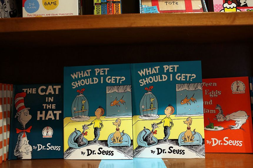 """CORAL GABLES, FL - JULY 28: Dr. Seuss' never-before-published book, """"What Pet Should I Get?"""" is seen on display on the day it is released for sale at the Books and Books store on July 28, 2015 in Coral Gables, United States. The manuscript by the author Theodor Geisel is reported to have been written in the 1950s or 1960s and stashed away in his office until his widow found it in 2013."""