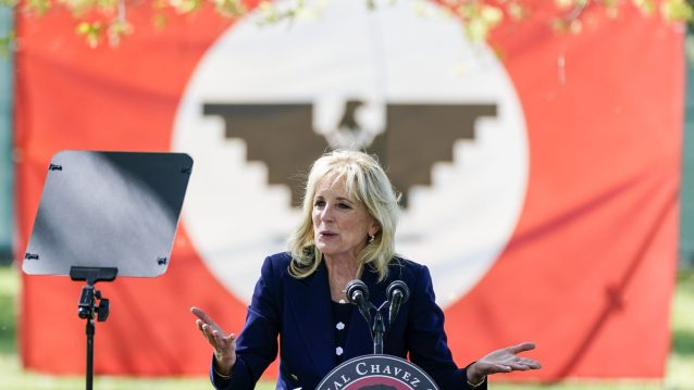 DELANO, CA - MARCH 31: First Lady Dr. Jill Biden participates in a Day of Action at The Forty Acres with the Cesar Chavez Foundation, United Farm Workers, and the UFW Foundation on Wednesday, March 31, 2021 in Delano, CA.