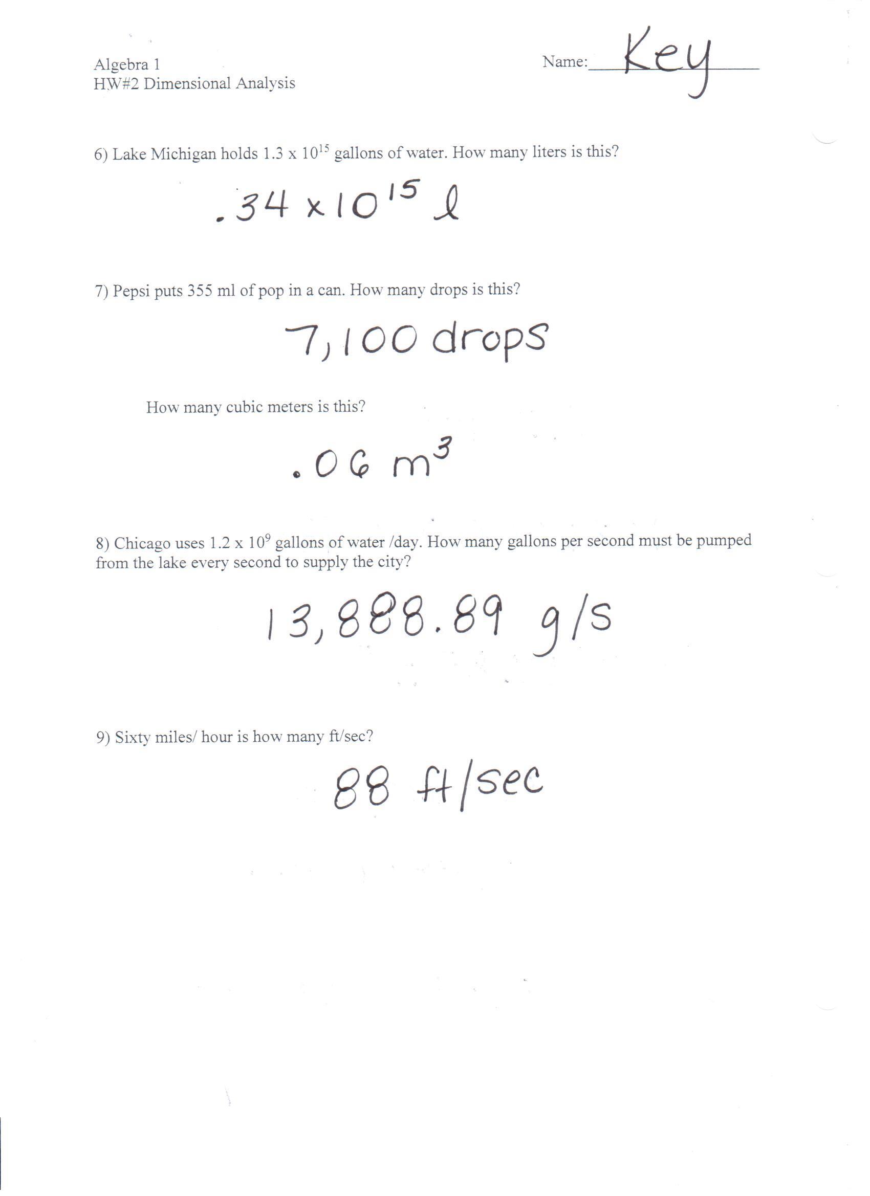 Dimensionalysis Homework