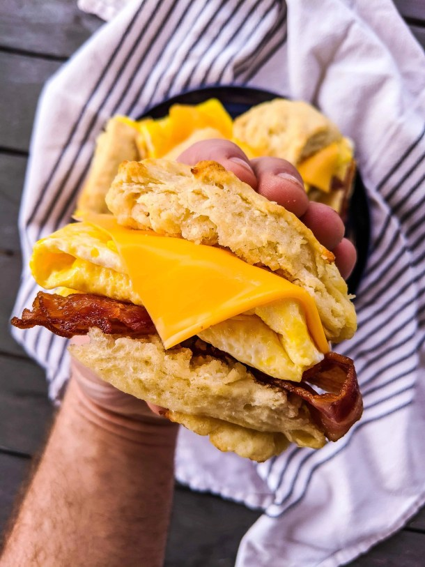 Dwardcooks light biscuit bacon egg and cheese