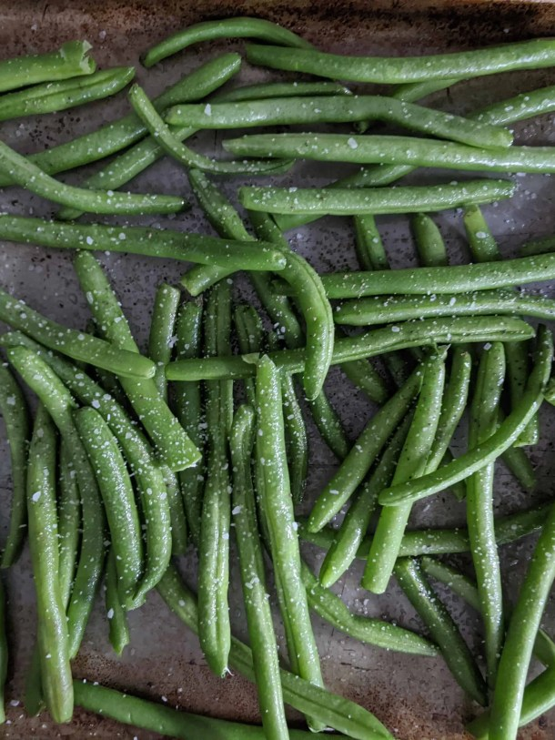 Roasting green beans on a sheet pan