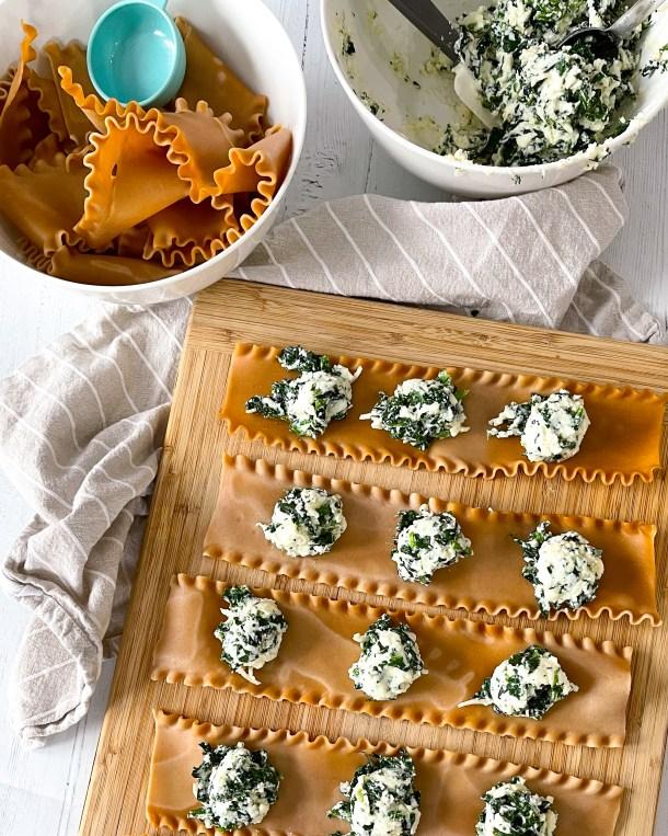 Easy Spinach Lasagna Roll ups
