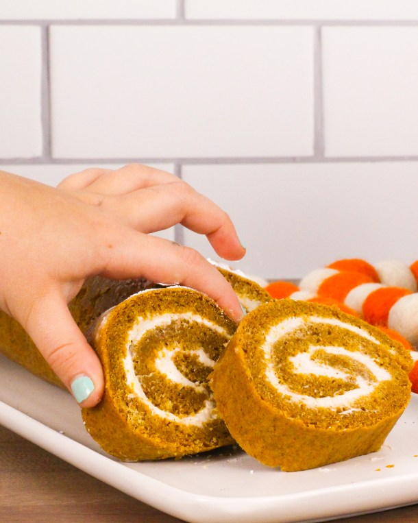 healthy pumpkin roll with maple cream cheese filling
