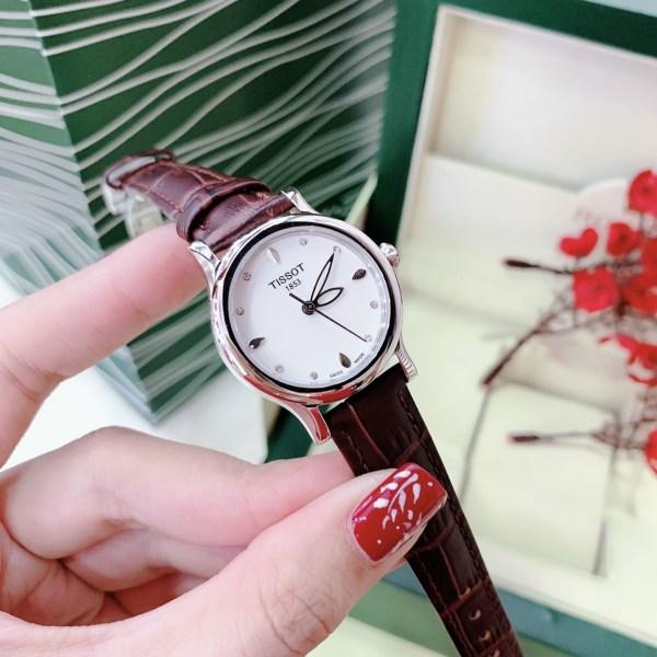 Đồng hồ Tissot nữ dây da màu đỏ