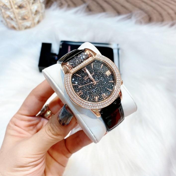 Đồng hồ Davena nữ dây da đính đá