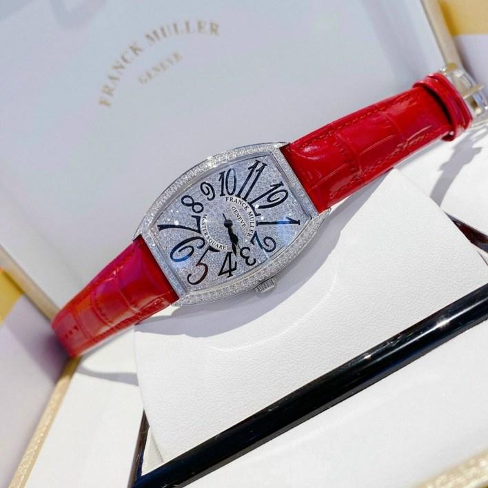 Đồng hồ Franck Muller nữ dây da màu đỏ