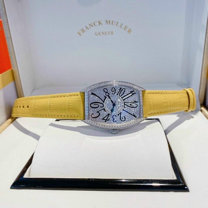 Đồng hồ Franck Muller nữ dây da màu vàng