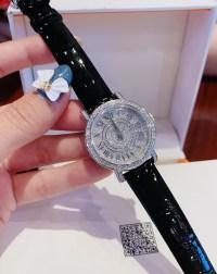 Đồng hồ Davena nữ dây da màu đen