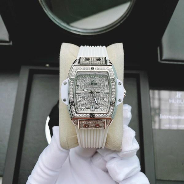 Đồng hồ dây cao su màu trắng Hubblot