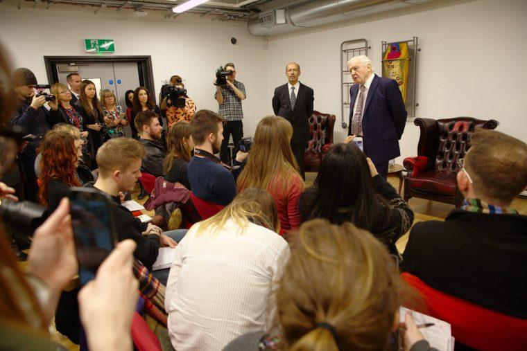 Sir David Attenborough talking to the press